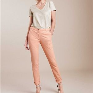 Pure Collection Washed Cotton Chinos in Peach